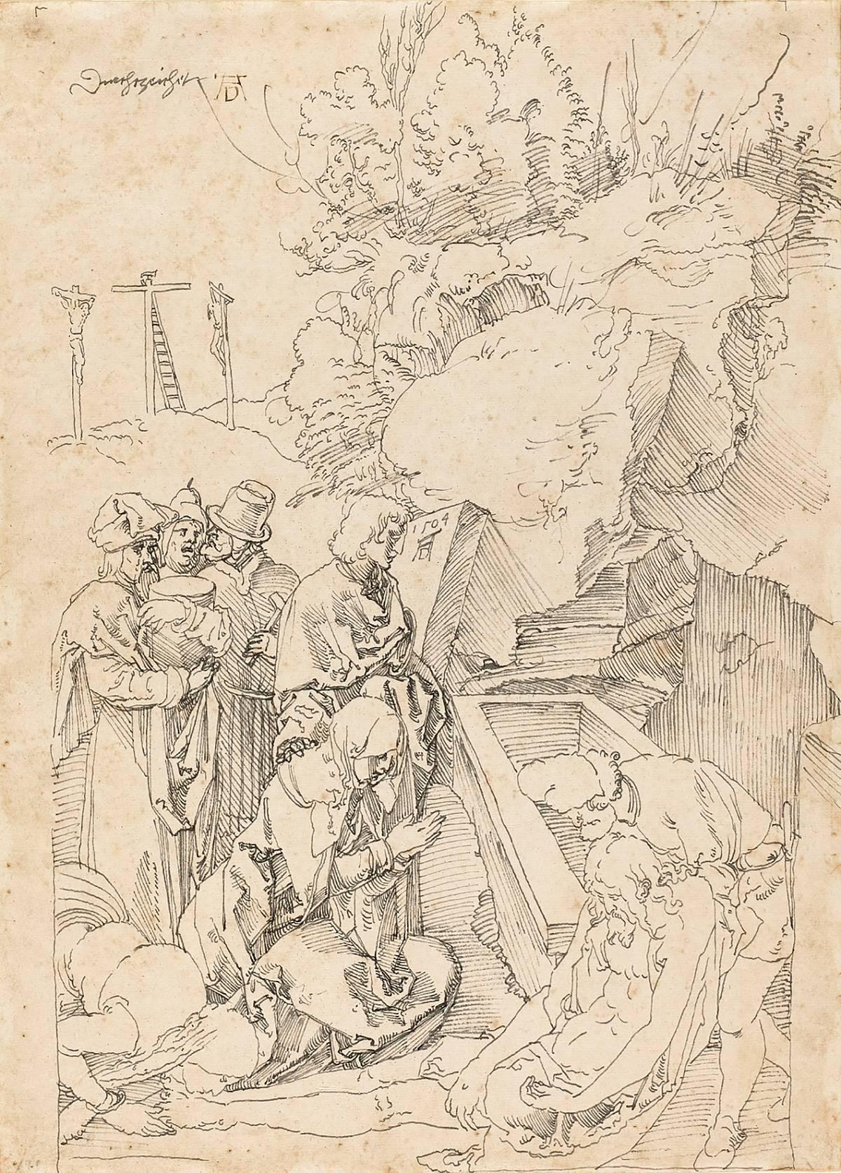 Albrecht Dürer: The Entombment (Design for Green Passion), 1504