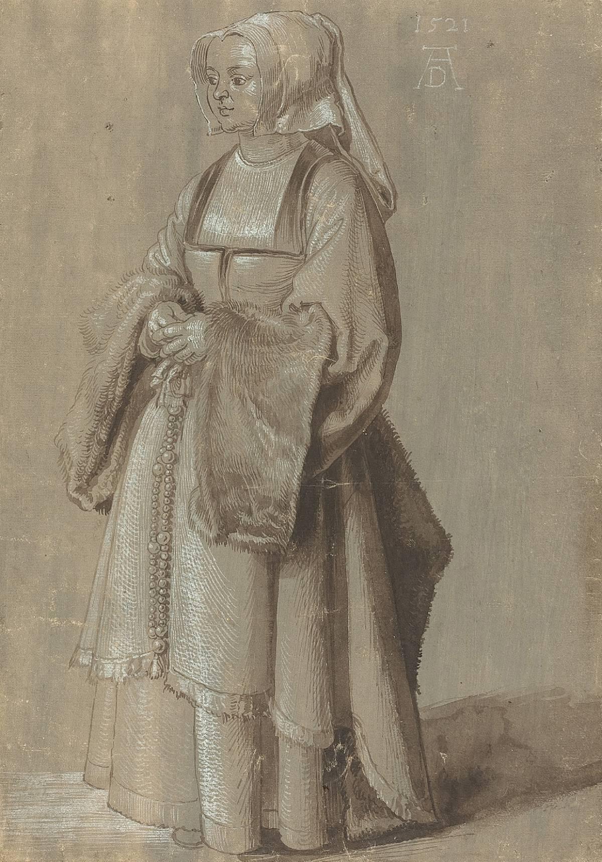 Albrecht Dürer: una giovane donna in abito olandese, 1521