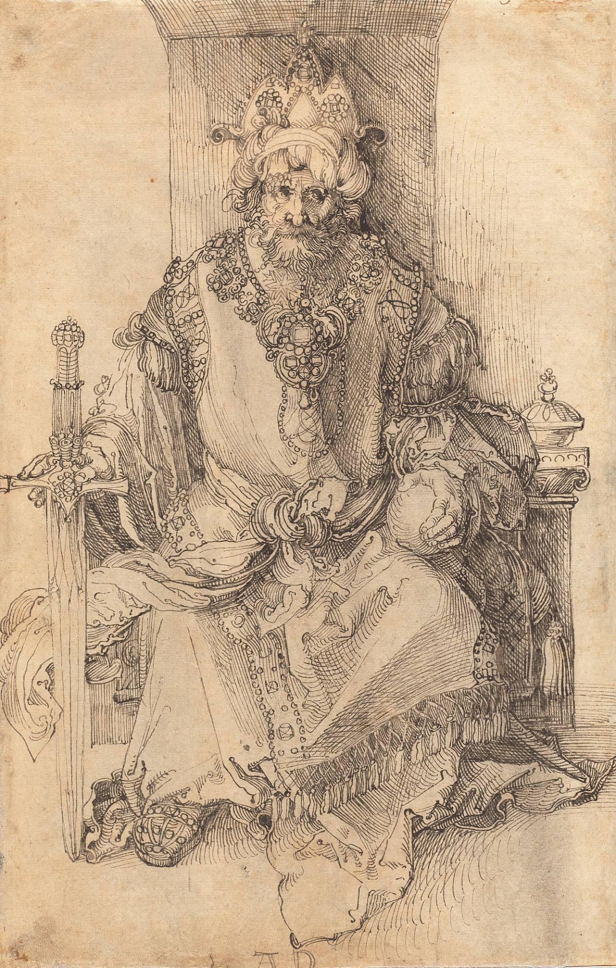 Albrecht Durer: un sovrano orientale seduto sul suo trono, c. 1495